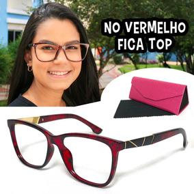 5a17f61caae15 Óculos Feminino Armação Lente Sem Grau Luxo Vermelho Tr7104