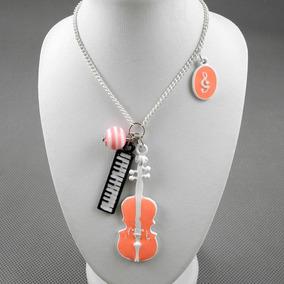 Collar Violin Piano Notas Musicales Rosa Coral Nuevo