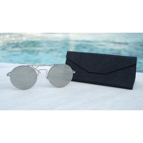 79735e427ee99 Óculos De Sol Redondo Feminino Retrô Prata Case + Brinde