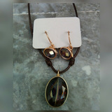 Gargantilla Y Zarcillo De Cristal En Alambre Designs Wire