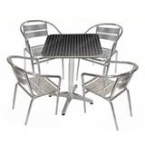 Mesa Quadrada ( 60cm) + 4 Cadeiras De Alúminio.