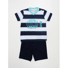 Conjunto Noruega Baby Camiseta Listras Com Bermuda - M - Uni 94177564726