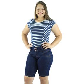 Kit 5 Bermudas Jeans Pedal Feminina Cintura Alta