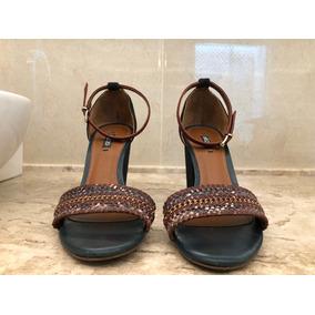 Sandália Azul Com Vinho Arezzo