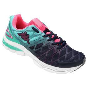 Tênis Running Corrida Kappa Impact- Feminino Marinho E Verde