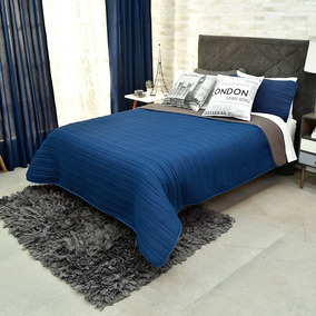 Edredon Basic King Size 2 Vistas Humo Azul Gris Vianney