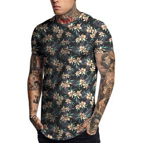 Camiseta Masculina Camisa Longline Floral Magaridas Colorido 2a28eff1b1794