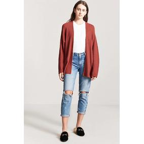 Forever 21 Cardigan Sweater Abierto Tejido Terracota Mediano