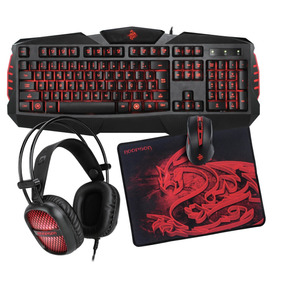 Kit Gamer Headset Mouse Teclado Completo Com Led
