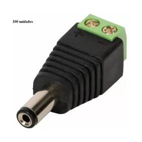 Kit 100 Conector P4 Macho Com Borne Para Cftv E Led