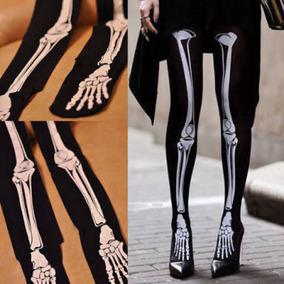 Pantymedias Medias Esqueleto Calavera Huesos Unitalla