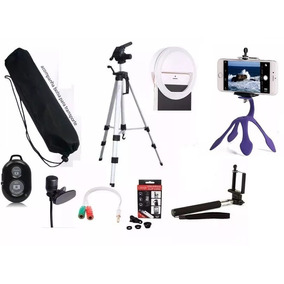 Kit Youtuber Celular + Microfone + Tripé 1,20m Selfie