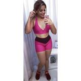 Conjunto Top+short Fitness Academia Moda Feminino Ginastica