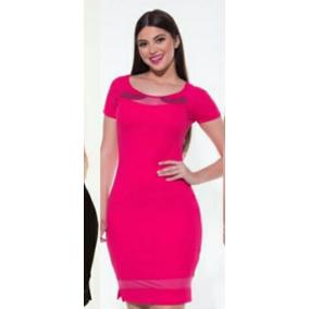 Vestido Manga Curta Pink Hapuk Moda Evangélica