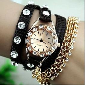 Relógio Feminino Pulseira De Couro Corrente Luxo