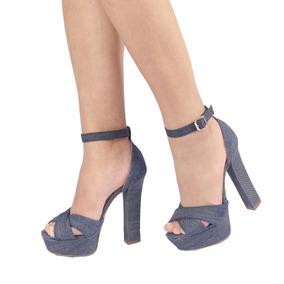 Sandália Salto Alto, Toda Em Jeans Do 35 Ao 39
