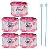 Kit De Novelos Cisne Cake + Agulhas Cor 034 - Rosa Mesclado dbf7da7ad37