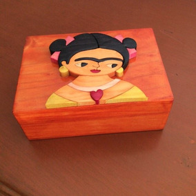 Caja Alhajero Artesanal Frida En Color Naranja