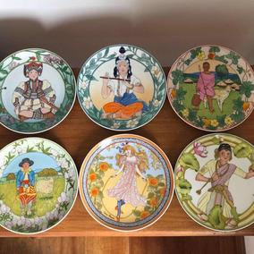 Antigos Pratos Coleção Porcelana Alemã Villery Boch Assinado