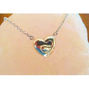 Collar Corazón Rompecabezas 14k Cadena Rolo 46cm Plata .925