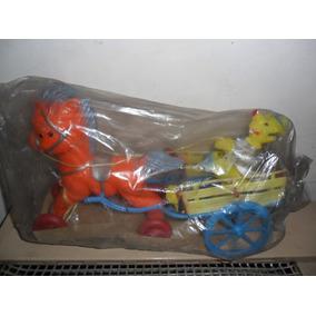 Antiguo Juguete Plástico Soplado Caballo - Carreta Personaje