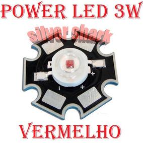 5 Pçs Power Led 3w Vermelho 610 - 630nm Dissipador Calor