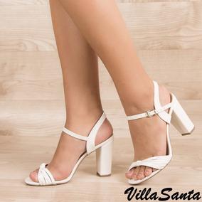 Sandália Branca, Salto Grosso Médio