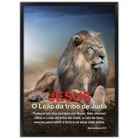 Quadro Bíblico De Leão Com Um Cordeiro Quadros Decorativos No