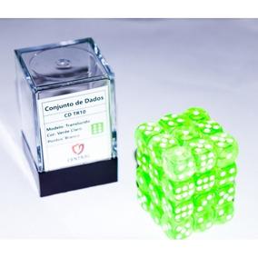 Conjunto 36un Dados D6 Card Games - Verde Claro E Branco