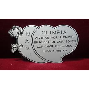 Placa Recordatoria Cementerio 25x15 Doble Corazon Acero Inox