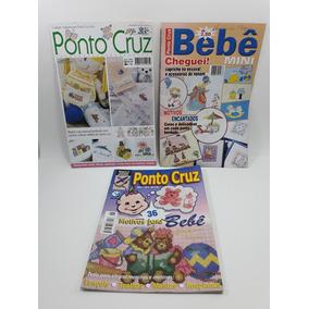 Revista Ponto Cruz Tema Infantil Bebê Kit Com 3 Usado