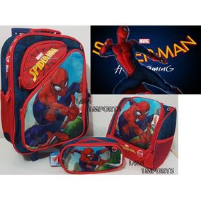 Kit 3 Em 1 Mochila Escolar Infantil Rodinhas Homem Aranha