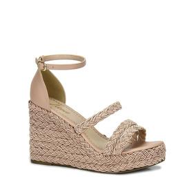 cfecc1f5e7 Sandalia Anabela Lara Preto - Sapatos Nude no Mercado Livre Brasil