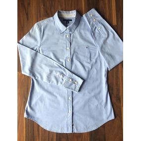 Camisa Social Tommy Hilfiger Feminina Azul Bebe - Calçados 2f046ba278037
