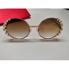 af21211c189d4 Óculos De Sol Fendi Ribbons And Pearls Ff0295 Marrom Degradê