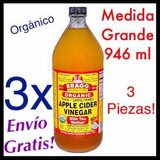 Vinagre De Manzana Organico Braggs 946 Ml 3 Piezas!