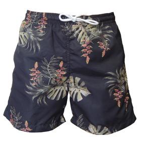 Shorts Mash Com Cordão Estampa Folhagem