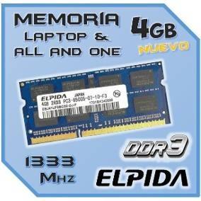 Memoria Elpida 4gb Laptop Ddr3 1333mhz Importada Oem