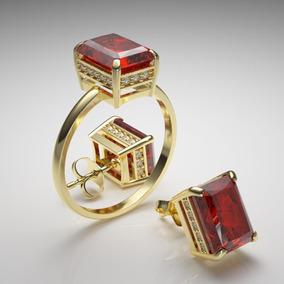 6044ee2a469 Conjunto Anel brinco Pedra Rubi Sintético Ouro - Cor Dourado