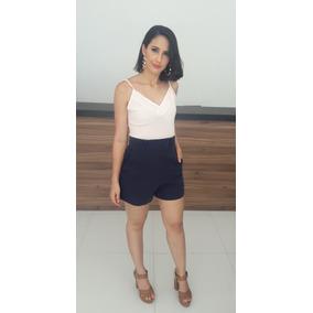 Roupas Femininas Conjunto Blusinha Regata Short Cintura Alta