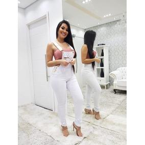 b5e043ace Macacao Jeans Comprido - Macacão para Feminino Branco no Mercado ...
