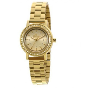 Relógio Feminino Allora Dourado Cravejado De Strass