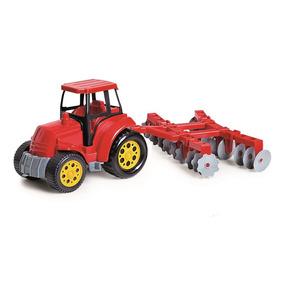 Trator Com Arado Agromax Poliplac Vermelho