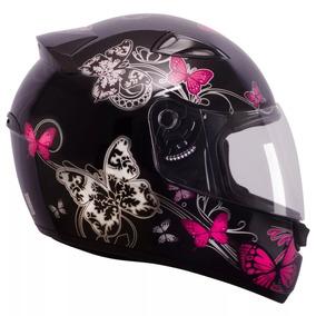 Capacete Moto Ebf Feminino New Spark Borboleta Preto Rosa