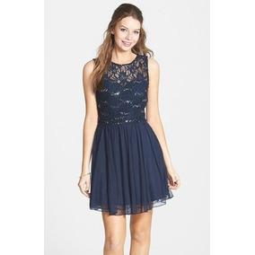 e553cbd73a45c Vestido De Cóctel Azul Marino Talla 13
