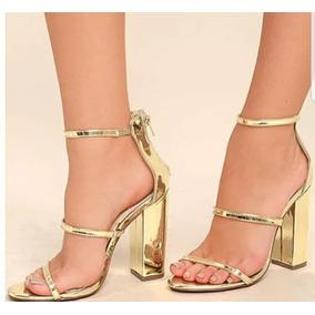 Sandália Dourada Baile Debutante, Salto 9 Cm - Várias Cores