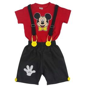 Conjunto Roupa Mickey Menino Camisa + Shorts + Suspensório