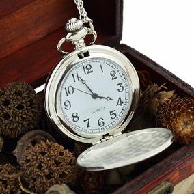 Relógio De Bolso Prata Metal Liso Prateado C Cordão Corrente