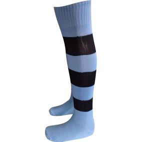Meião Futebol Listrado Azul Celeste Com Preto 9 Pares a5f0d39a028ab