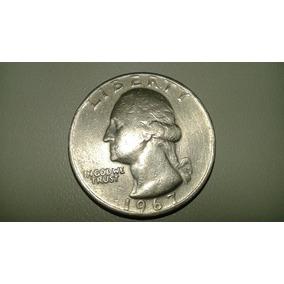 Moeda Americana Antiga Rara - Quarter De Dollar Ano 1967
